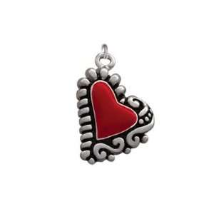 Silver Plated, Enameled, Fancy Red Heart Charm, Qty.1
