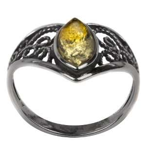 Light Green Amber Sterling Silver Celtic Lace Ring Graciana Jewelry