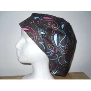 Womens Bouffant Scrub Cap, Adjustable, Brown Paisley with