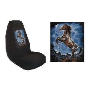 Wild Mustang Car Truck SUV Lightning Print Seat Covers 2