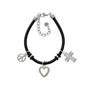 Plain Silver Cross with Simple Border Black Peace Love Charm Bracelet