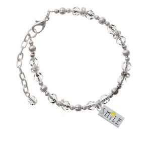 Smiley Face Rectangle Clear Czech Glass Beaded Charm Bracelet Jewelry