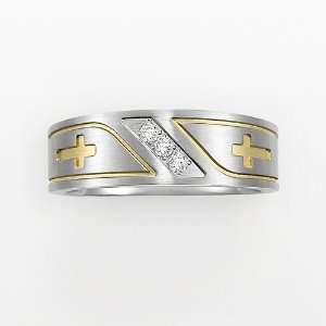 Stainless Steel Two Tone 1/10 ct. T.W. Diamond Cross Band