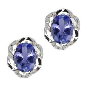 Oval Blue Tanzanite and White Diamond 14k White Gold Earrings Jewelry
