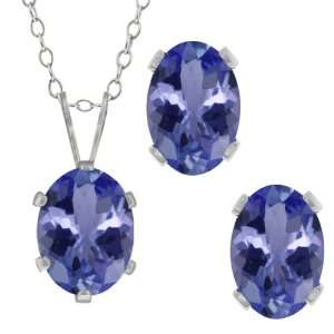 Blue Tanzanite Gemstone Sterling Silver Pendant Earrings Set Jewelry