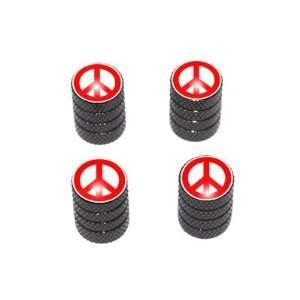 Peace Sign Red   Tire Rim Valve Stem Caps   Black Automotive