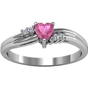 14K White Gold Heart Shaped Pink Tourmaline and Diamond Ring Jewelry