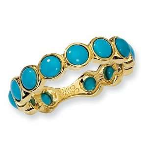 Gold plated Sterling Silver Simulated Turquoise Ring (Size 8) Jewelry
