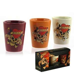 Licensed Ed Hardy Love Kills Slowly Ceramic Shot Glass