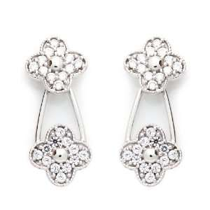 14K White Gold Plated Sterling Silver Clover CZ Stud Screw
