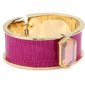 Kara Ross Classic Wide Hexagon Cuff Bracelet, Azalea Lizard and Opal
