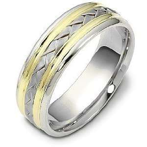 Two Tone 18 Karat Gold Comfort Fit Wedding Band Ring   6.25 Jewelry