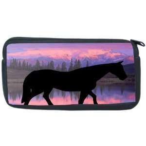 Horse Silhouette on Mountain Range Design Neoprene Pencil