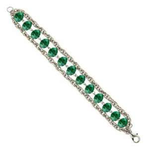 Lux Cut Emerald Green Beaded Chain Bracelet 1928 Jewelry