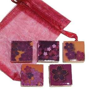 The Black Cat Jewellery Store Purple & Ochre Flower Wood