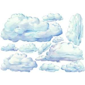 Set of 10 Beautifully Painted Cloud Nursery Decals Wall