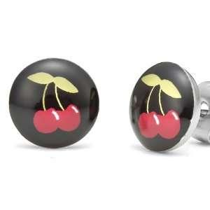 Sweet Cherry Studs Stainless Steel Stud Earrings (Black