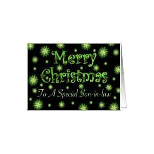 Son in law Christmas Green Stars and Holly Card Health