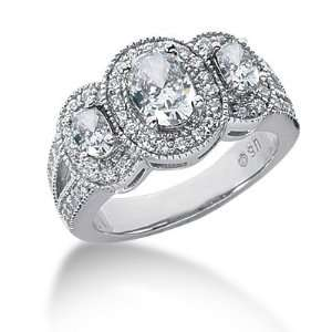 1.8 Ct Diamond Diamond Ring Engagement Oval cut 14k White