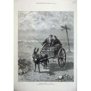 1874 Old Man Woman Romance Road Gretna Donkey Cart