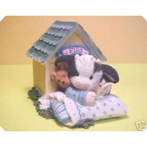 Marys Moo Moos Cow In Doghouse Figurine 109230
