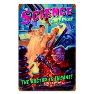 Science Gone Wild Pinup Girls Vintage Metal Sign