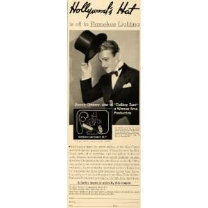 1936 Ad Hollywood Jimmy Cagney Warner Keychain Light   Original Print
