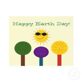 Colorful Trees and Sun Earth Day Cards Custom Invitations from Zazzle