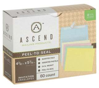 10 % recycled assorted pastels peel n seal greeting card envelopes 5 3