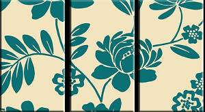 THREE PANEL FLORAL DESIGN CANVAS ART TEAL CREAM 36x20