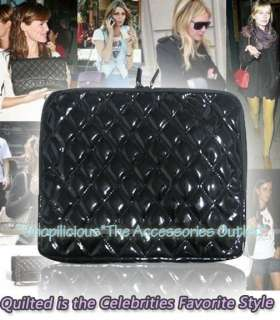 VERIZON APPLE iPAD/2 WIFI/3G BLK QUILTED PATENT LEATHER CASE SLEEVE