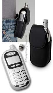 Cell phone shape stainless steel flask with leather holder, OT