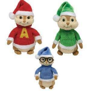 Alvin Simon Theodore TY 2011 Christmas Chipmunk Set of 3