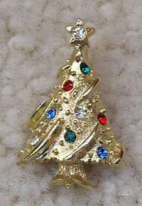 Vintage Goldtone Christmas Tree Lapel Pin Rhinestone Ornaments & Star