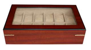 12 CHERRY WOOD GLASS TOP WATCH JEWELRY DISPLAY CASE BOX
