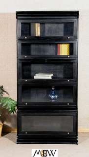Solid Mahogany Black Finish Barrister Lawyers Bookcase Bookshelf C124