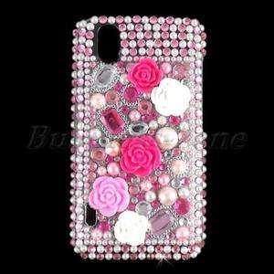 Flower Bling Crystal Diamond Rhinestone Case Cover for LG Optimus