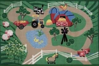 Farm Roads Tractor Animals Barn Kids Fun Nylon Area Rug