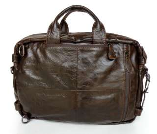 Genuine Leather Mens Chocolate Laptop Bag Backpack DHL