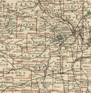 Authentic 1889 Map showing Counties, Cities, Topography, Railroads