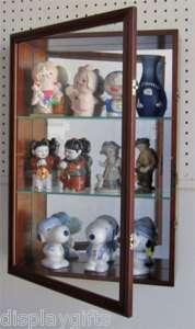 Figurine Display Case Cabinet, Solid wood, glass door