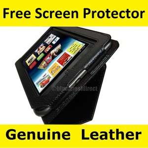 & Noble Nook Tablet Color Genuine Leather cover case w/ Stand Black