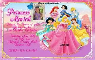 CUSTOM DISNEY PRINCESS BIRTHDAY INVITATIONS OR THANK YOU CARDS