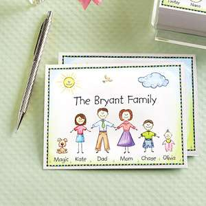 Family Characters Note Cards and Envelopes Personalized Gifts