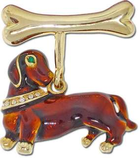 NEW Cute DACHSHUND DOG Rhinestone Brooch