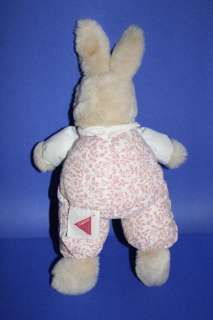 Dakin VTG 1990 Plush BUNNY RABBIT Pink Floral LOVEY 11 Light Brown