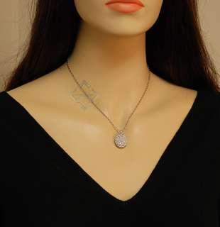 Roberto Coin White Gold Diamond Oval Pendant Necklace