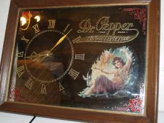 Vintage Dr Pepper Mirror Plug in Electric Clock New Motor