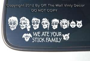 Zombie Family Stick Figure Vinyl Car Decal Sticker