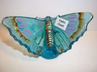 Fenton Glass BLUE LAGOON HP BUTTERFLY Figurine  Exclusive Franks